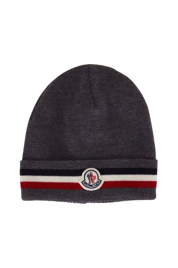 Moncler Gray Wool Logo Hat