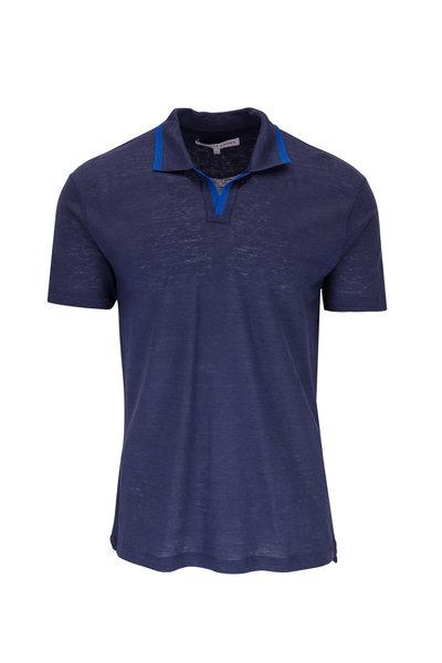 Orlebar Brown - Felix Navy Blue Linen Resort Polo