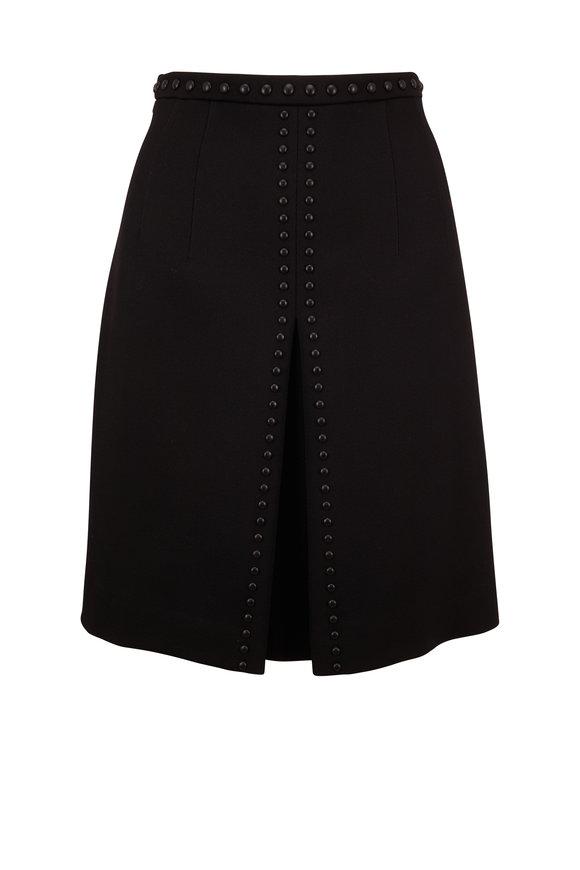 Akris Punto Black Wool Grommet Skirt