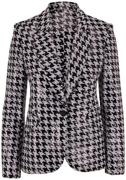 L'Agence Chamberlain Black & White Check Sequin Blazer