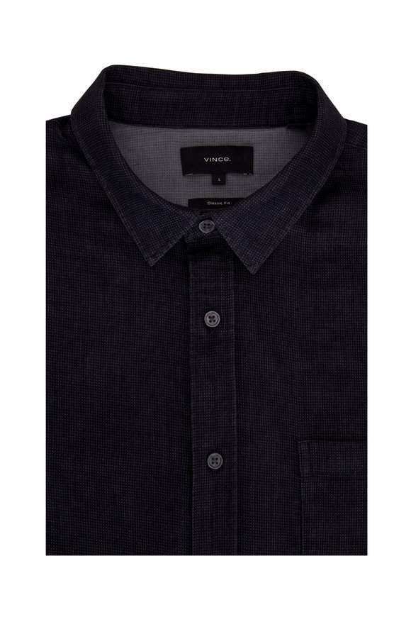 Vince Black Double-Faced Jacquard Sport Shirt