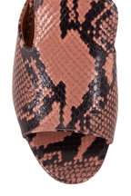 Paris Texas - Blush Python Embossed Chunky Heel Mule, 80mm
