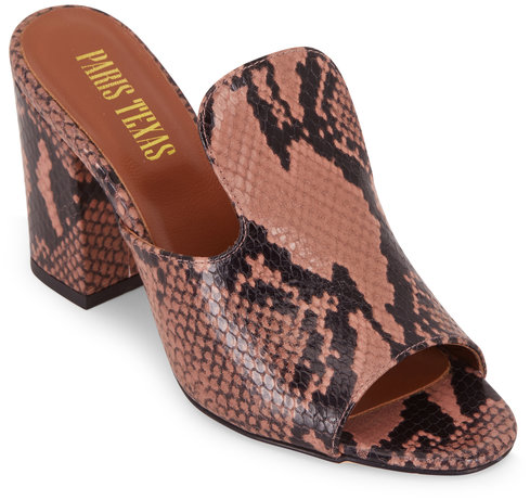 Paris Texas Blush Python Embossed Chunky Heel Mule, 80mm