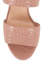 Prada - Blush Embossed Leather Platform Sandal, 95mm
