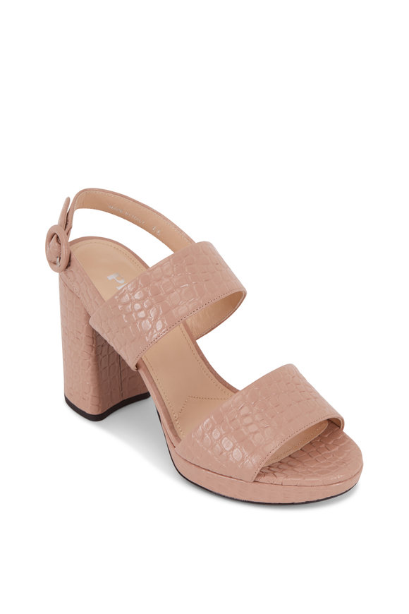 Prada Blush Embossed Leather Platform Sandal, 95mm