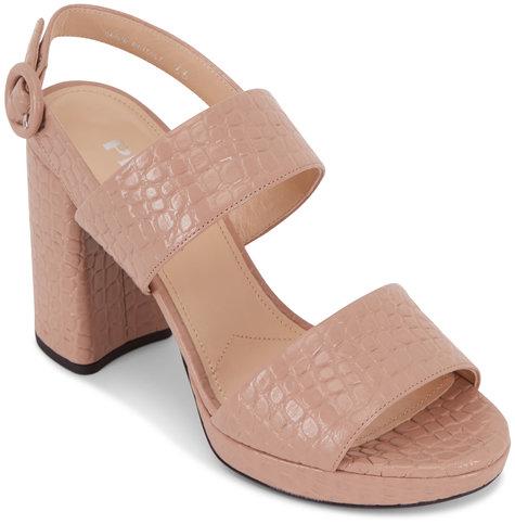 Prada Blush Embossed Leather Platform Sandal, 95mm