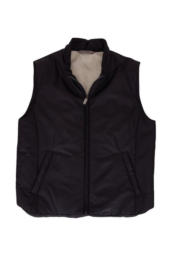 Canali Black Nylon Puffer Zip Vest