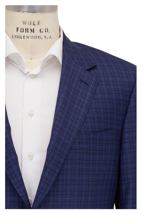 Canali Navy Blue Plaid Wool Sportcoat