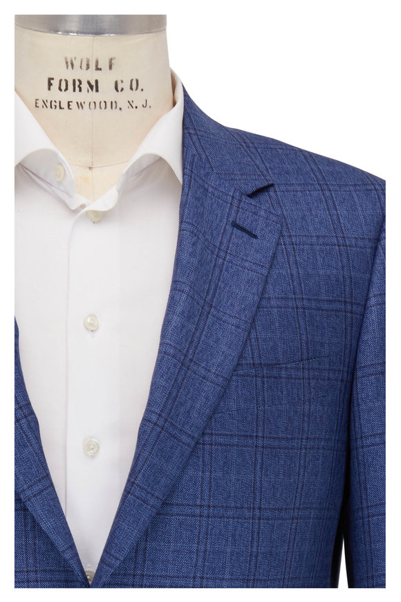 Canali Blue Plaid Silk Blend Sportcoat