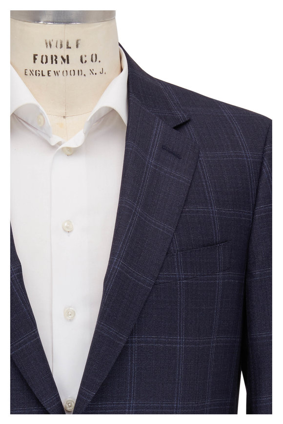 Canali Navy Blue Windowpane Wool Sportcoat