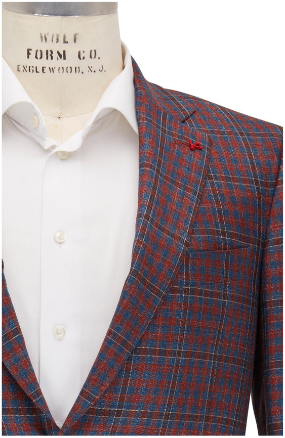 Isaia Rust Brown & Blue Large Check Wool Blend Sportcoat