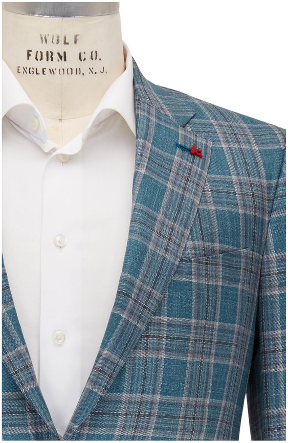 Isaia Teal & Grey Plaid Wool, Silk & Linen Sportcoat