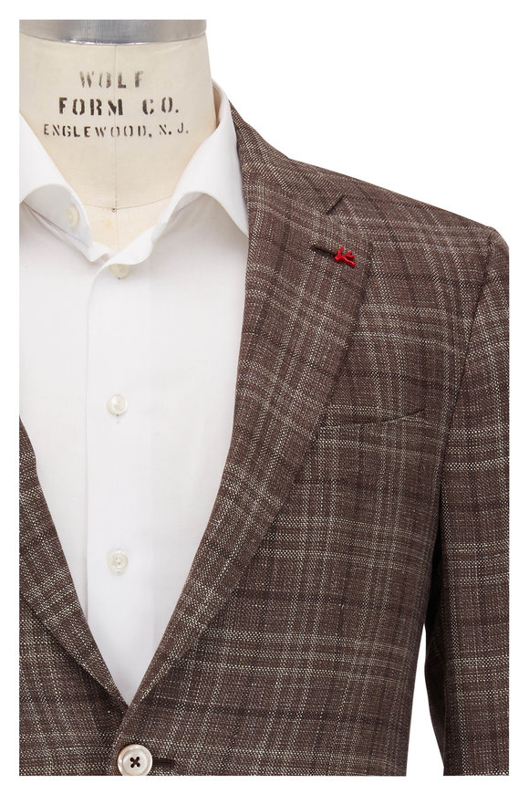 Isaia Brown Tonal Plaid Wool, Silk & Linen Sportcoat