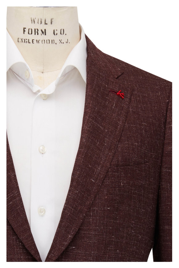 Isaia Maroon Textured Cashmere Blend Sportcoat