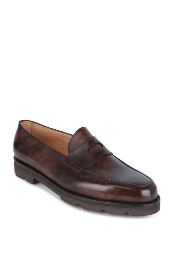 John Lobb Lopez Dark Brown Leather Penny Loafer