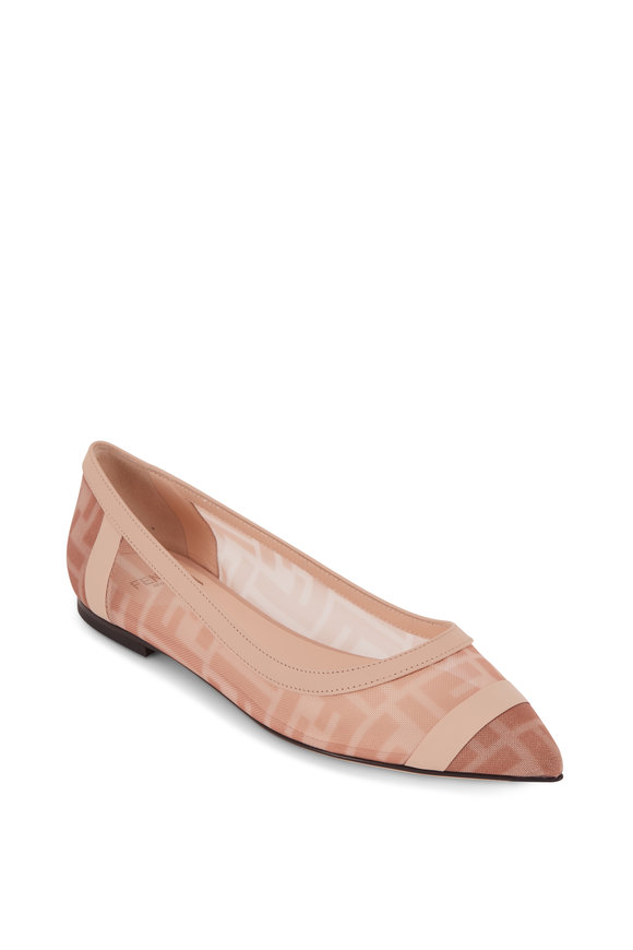 Fendi Colibrì Pink Mesh & Nude Leather Ballerina Flat