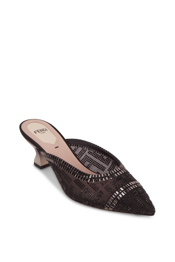Fendi Colibrì Sabot Black Mesh Embellished Mule, 55mm