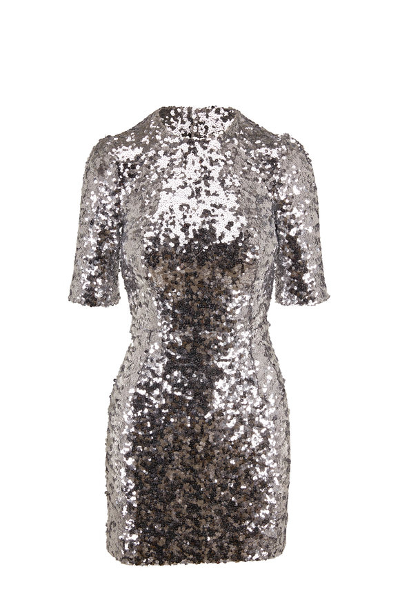 Dolce & Gabbana Silver Sequin Short Sleeve Mini Dress