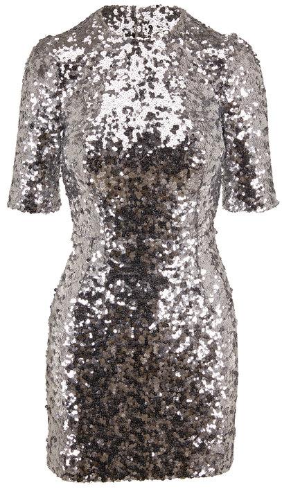 Dolce & Gabbana Silver Sequin Short Sleeve Mini Dress