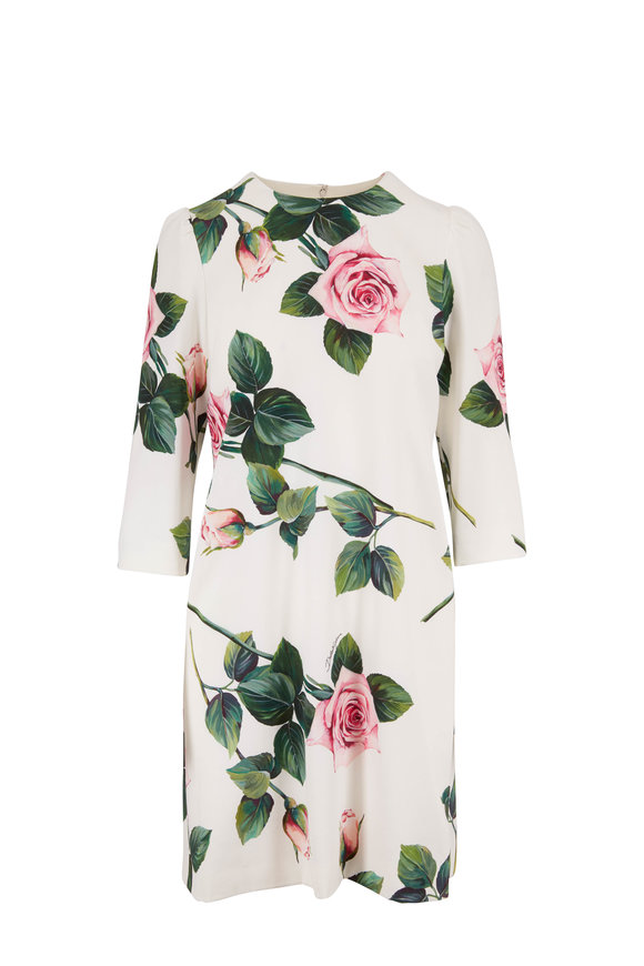 Dolce & Gabbana Ivory Rose Print Long Sleeve Dress