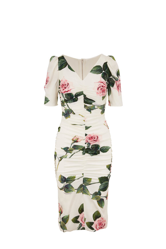 Dolce & Gabbana Ivory SIlk Rose Print Ruched Short Sleeve Dress
