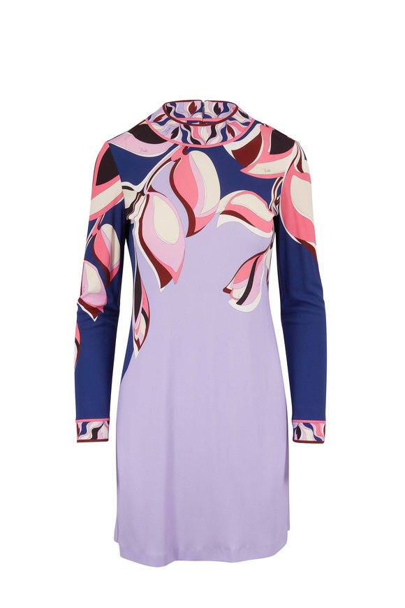 Pucci Navy Blue Printed Long Sleeve Dress