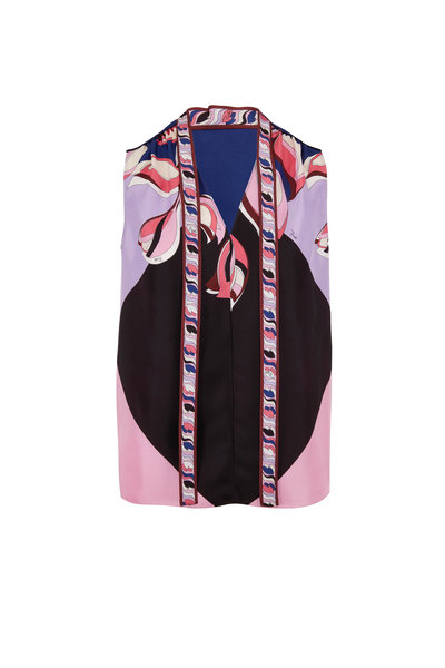 Pucci - Navy Silk Printed Tie Neck Top