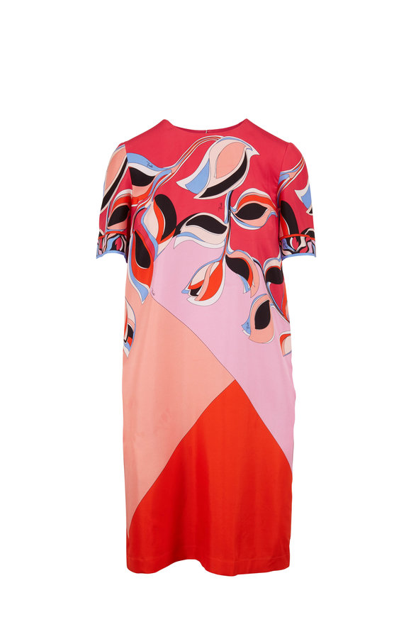 Pucci Pink & Orange Print Silk Short Sleeve Shift Dress