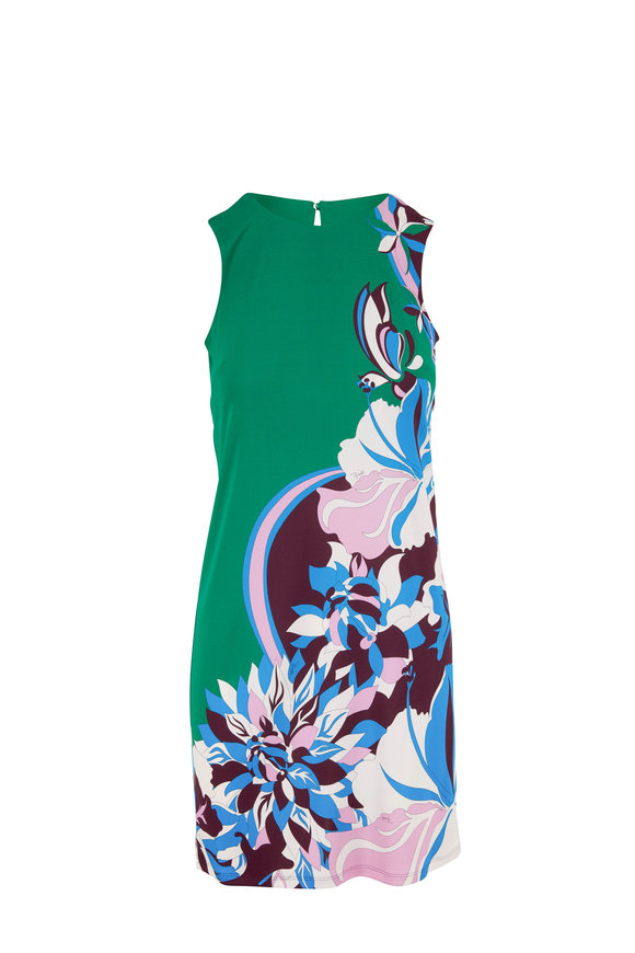 Pucci Green Printed Sleeveless Dress