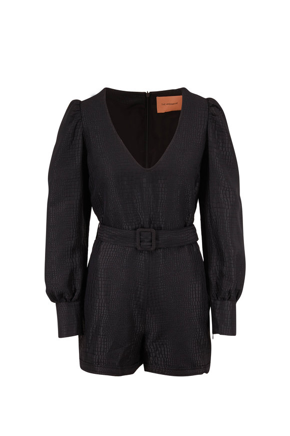 Andamane Black Crocodile Embossed Belted Romper
