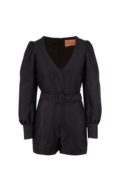 Andamane - Black Crocodile Embossed Belted Romper