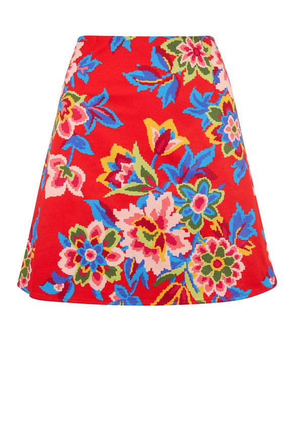 Carolina Herrera Chili Red Floral Mini Skirt