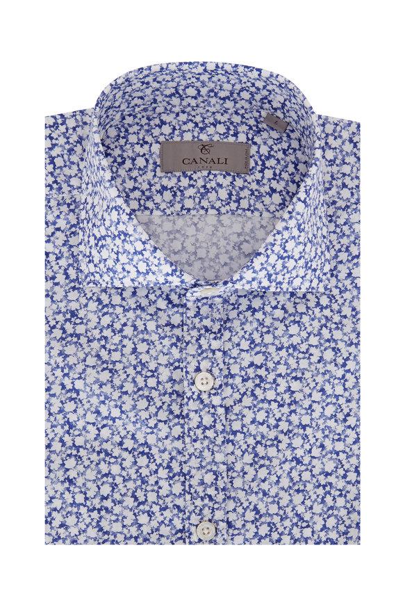 Canali Navy Blue Floral Sport Shirt
