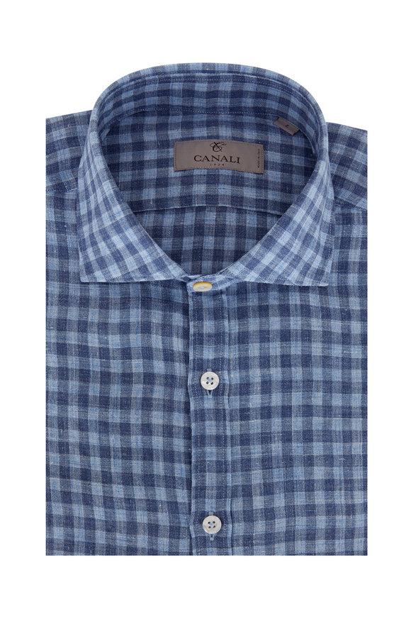 Canali Blue Gingham Linen Sport Shirt