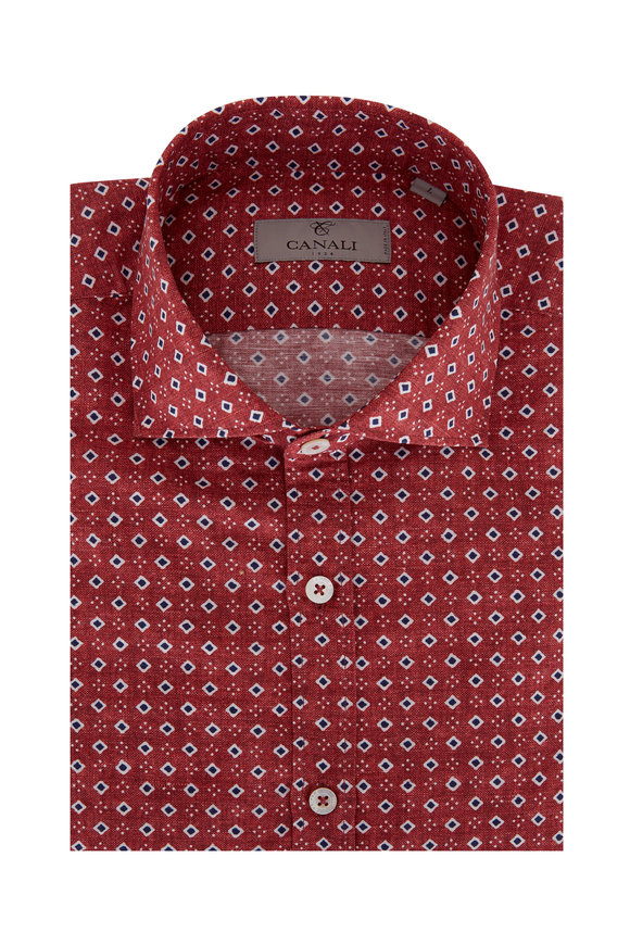 Canali Red Diamond Linen Blend Sport Shirt