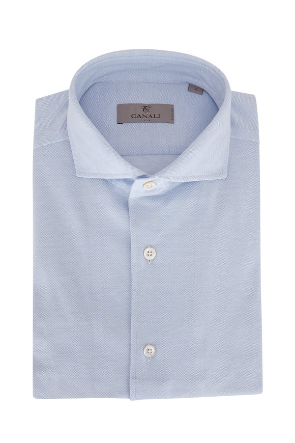 Canali Light Blue Jersey Sport Shirt