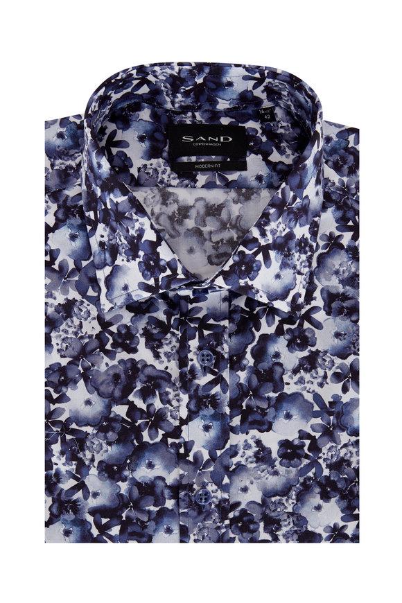 Sand Navy Blue Floral Modern Fit Sport Shirt