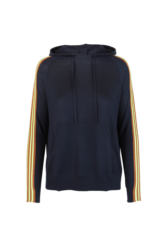 Chinti & Parker Navy Blue Wool & Cashmere Hooded Sweater