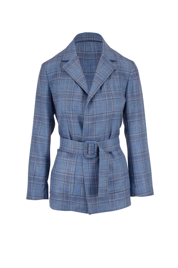 Rani Arabella Blue Wool, Silk & Linen Plaid Belted Jacket