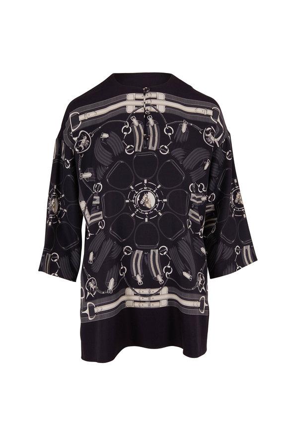 Rani Arabella Black Silk Scarf Print Three-Quarter Sleeve Tunic