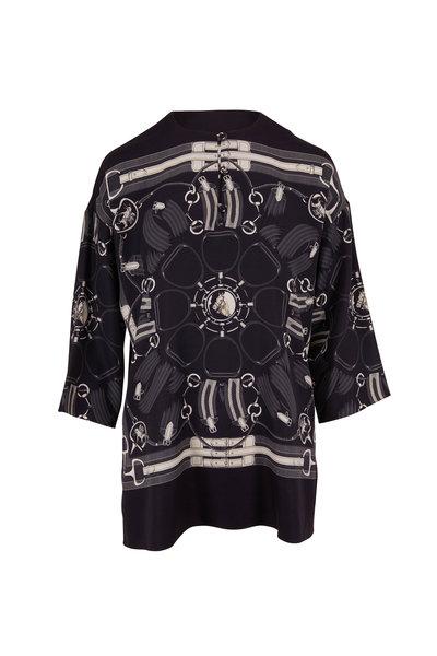 Rani Arabella - Black Silk Scarf Print Three-Quarter Sleeve Tunic
