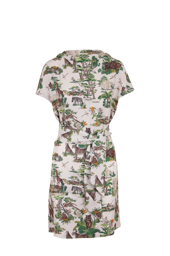 Rani Arabella Green & White Silk Safari Print Cap-Sleeve Dress