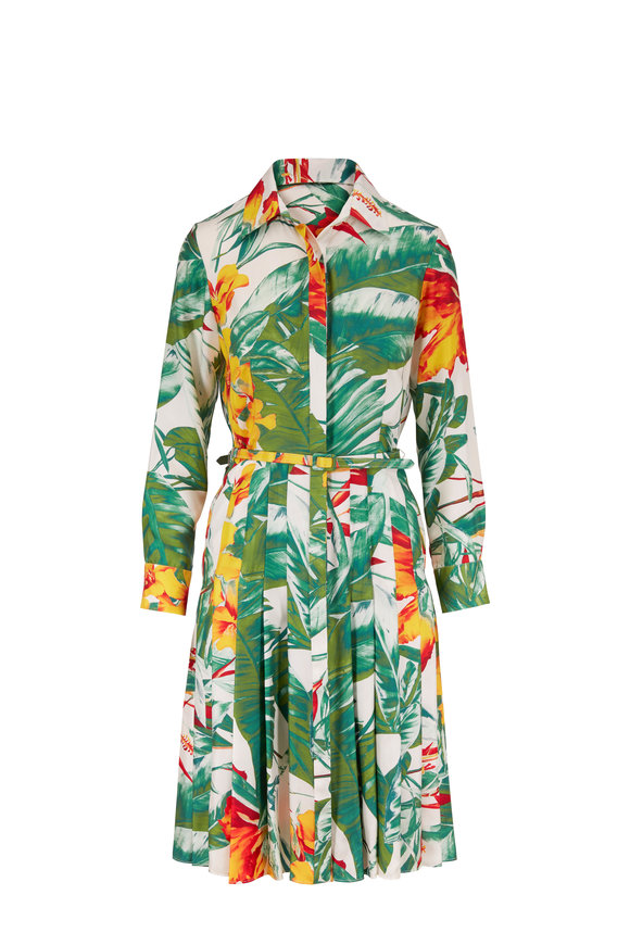 Rani Arabella Yellow & Green Silk Floral Print Long Sleeve Dress