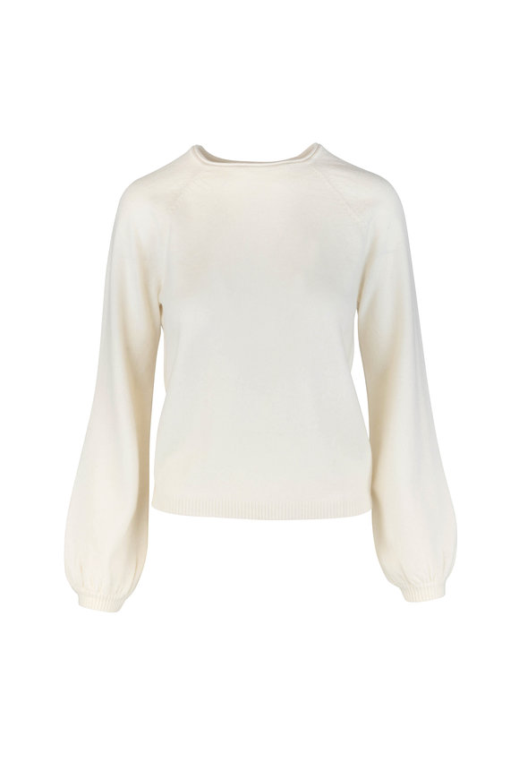 CO Collection Ivory Cashmere Peasant Sleeve Sweater