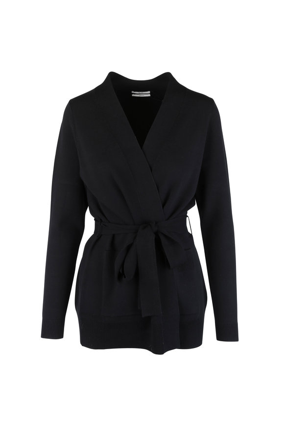 CO Collection Black Self-Tie Patch Pocket Cardigan