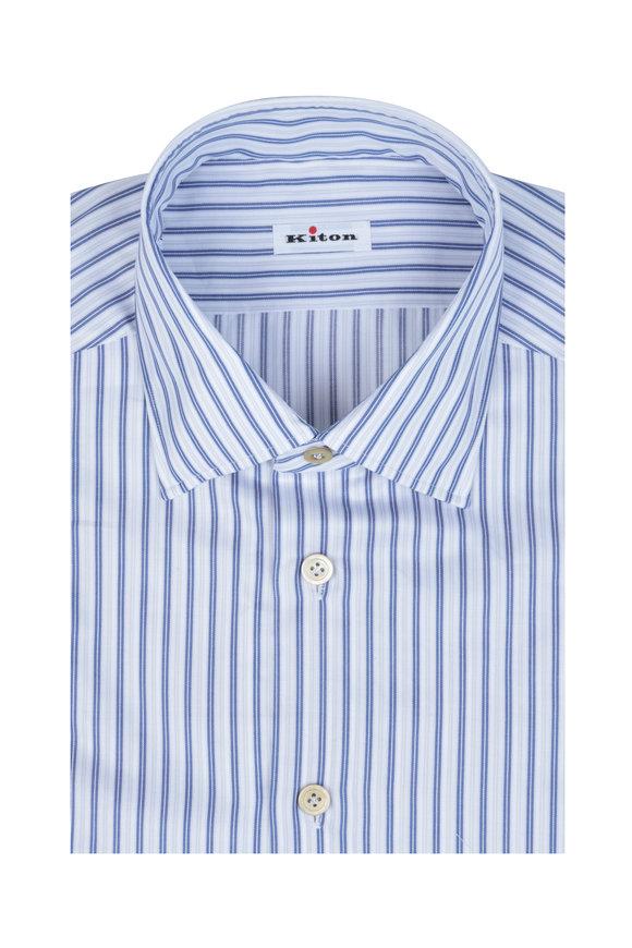 Kiton Blue, Gray & White Striped Dress Shirt