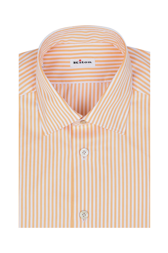 Kiton Orange & White Striped Dress Shirt