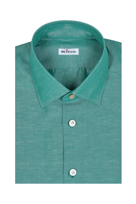 Kiton Green Cotton & Linen Dress Shirt