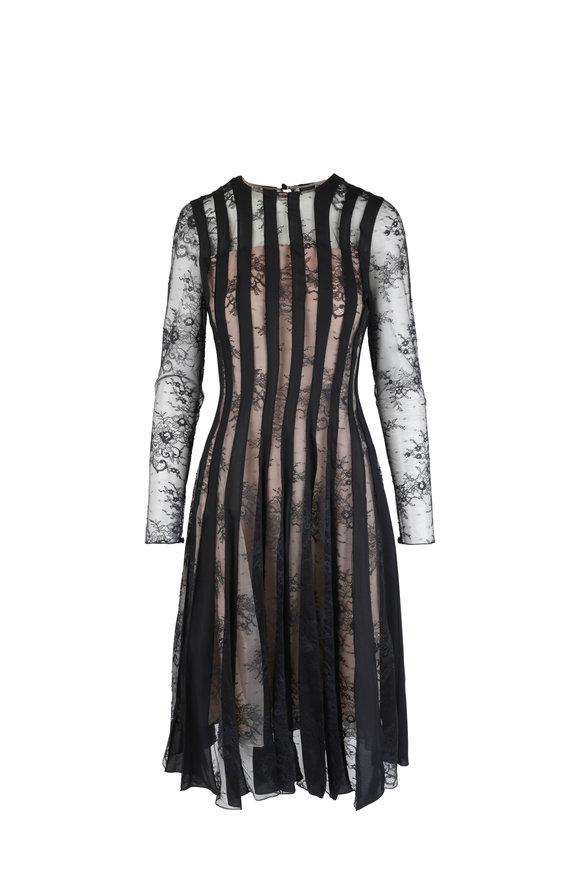 Oscar de la Renta Black Lace & Satin Cocktail Dress