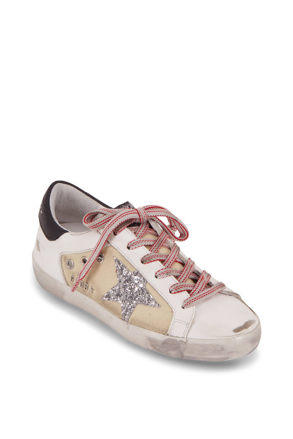 Golden Goose Superstar Beige Canvas Silver Glitter Star Sneaker